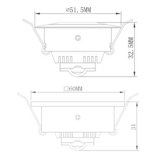 Technische Zeichnung für Alu-Einbaustrahler