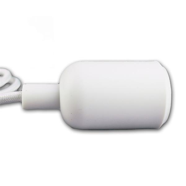 E27 Kunststoff-Fassung mit textilummantelten Kabel und Deckensockel