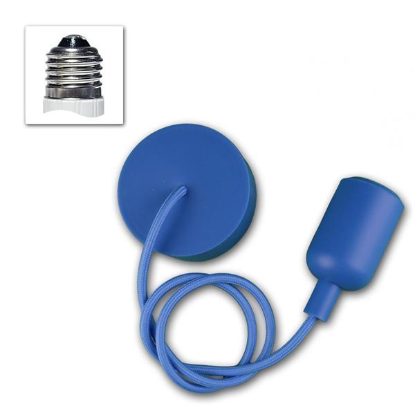 """E27 Lampenaufhängung """"Silikon"""" blau, 230V max 60W"""