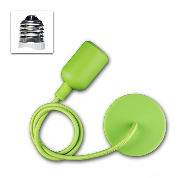"""E27 Lampenaufhängung """"Silikon"""" grün, 230V max 60W"""