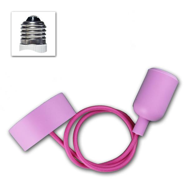 "E27 Lampenaufhängung ""Silikon"" pink, 230V max 60W"