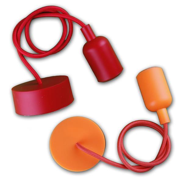 Silikon-Lampenaufhängung mit 80cm Textilkabel in 8 Farben