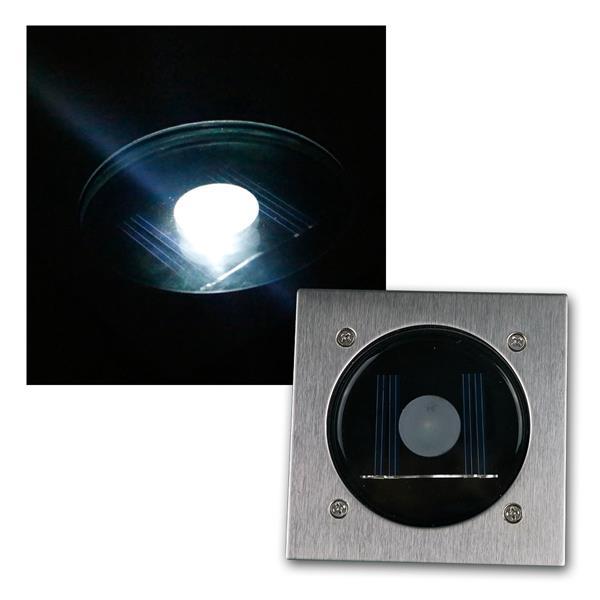 Solar LED Bodenstrahler CTB-E eckig Edelstahl-Fron
