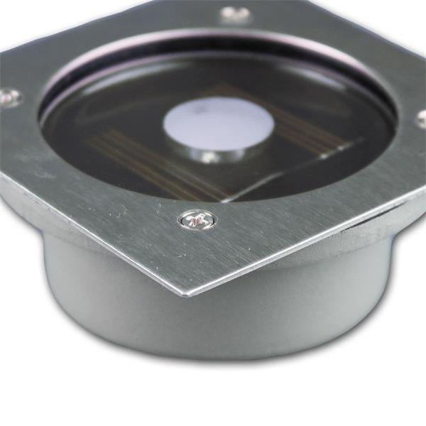 Solar LED Bodeneinbaustrahler mit 1 kalt-weißen LED und Dämmerungssensor