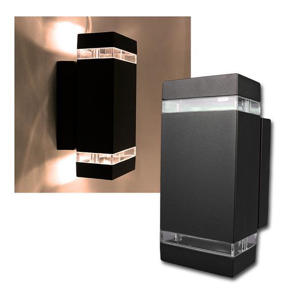 Außen Wandleuchte schwarz eckig warmweiß 2x230lm