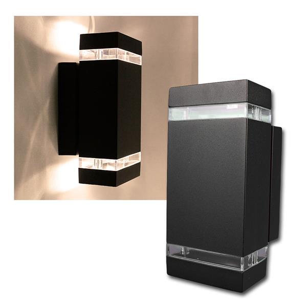 Außen Wandleuchte schwarz eckig warmweiß 2x400lm