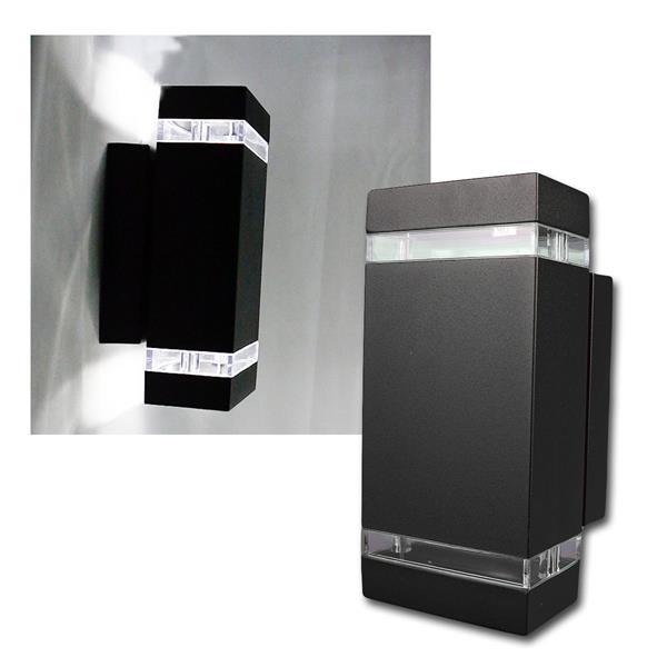 Außen Wandleuchte schwarz eckig daylight 2x420lm
