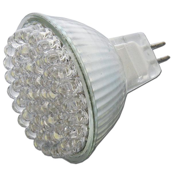 LED Energiesparleuchte mit 60 4,8mm LEDs in Halogenoptik und Vollglasgehäuse
