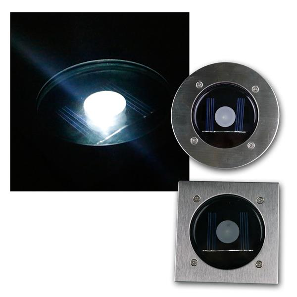 Solar LED Bodenstrahler CTB eckig/rund Edelstahl