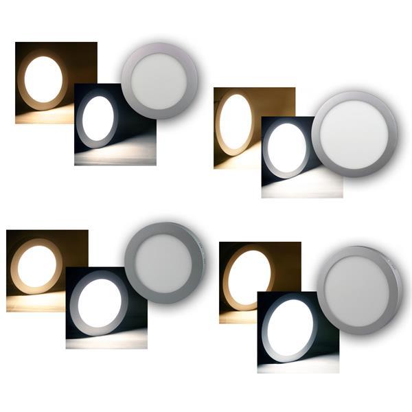 LED Panels RUND Einbau/Aufbau warm/daylight 10/15W