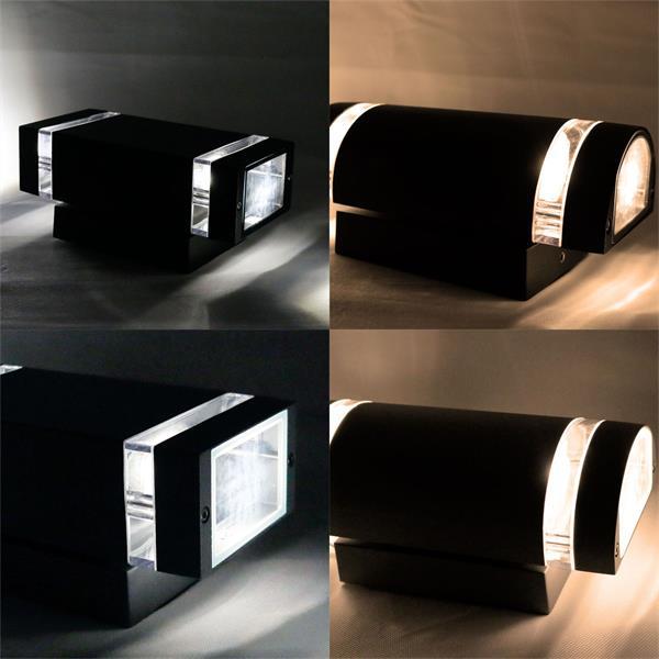 Eckige oder runde Außen-Wandleuchte in schwarz oder grau