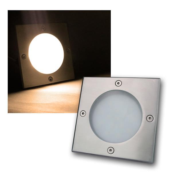 LED Bodeneinbauleuchte eckig warm weiß 220lm 3W