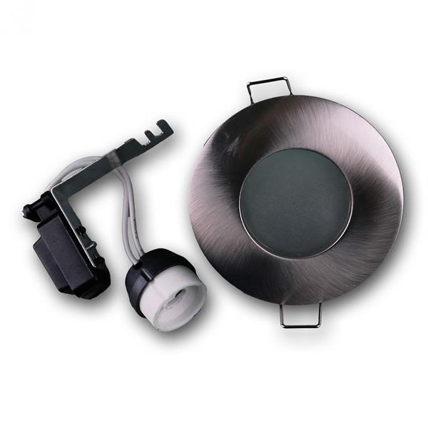 Einbaurahmen in matter Alu-Optik mit Keramik-Halogen-Lampenfassung