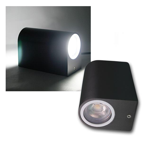 Wandleuchte anthrazit 2xCOB LED kaltweiß IP44 rund