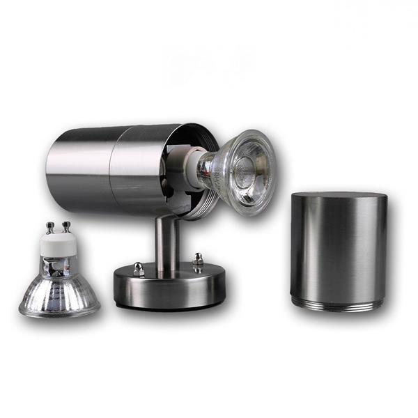 LED Außenleuchte mit zwei LED Leuchtmitteln GU10 mit je 1x COB LED