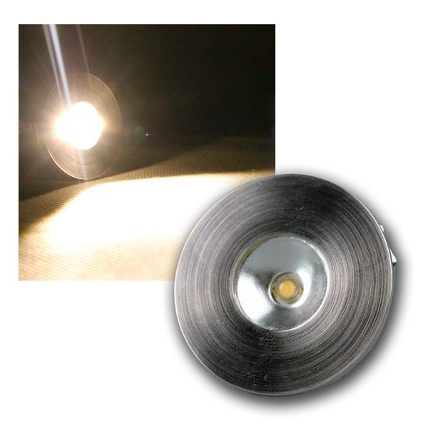 1W LED Einbauleuchte Edelstahl warm weiß 350mA CC