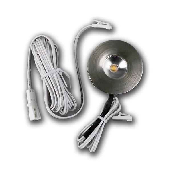 LED Einbaulicht rund in Edelstahl-Optik mit 1x 170cm Verlängerungskabel