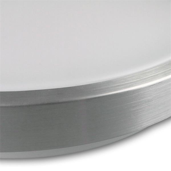 LED Wohnraumlampe mit matter Abdeckung und Alu-Außenring