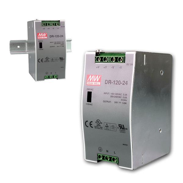 24V Transformator für DIN-Schiene, max.120W/ 0-5A