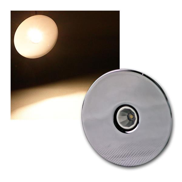 3W LED-Einbauleuchte Chrom rund warm weiß