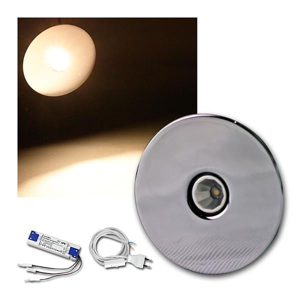 3er Set 3W LED Einbauleuchte Chrom rund warm weiß