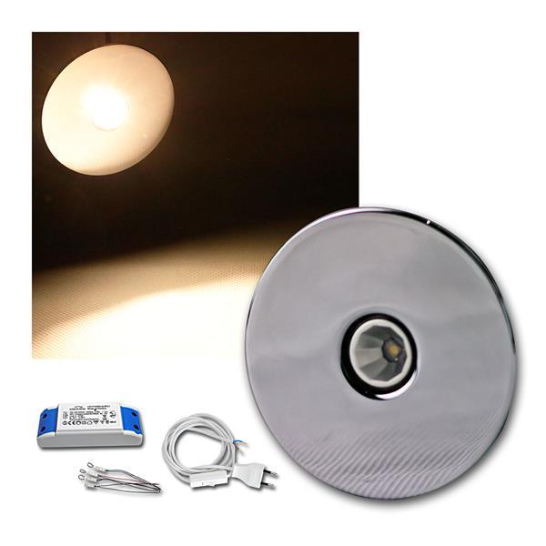 4er Set 3W LED Einbauleuchte Chrom rund warm weiß