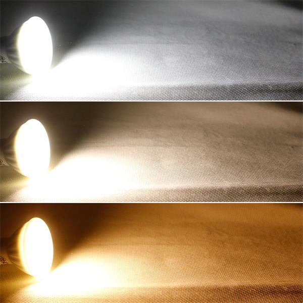 GU10 LED Leuchtmittel mit 3 Leuchtfarben warm-/neutral-/kalt-weiß und 350/400/370lm