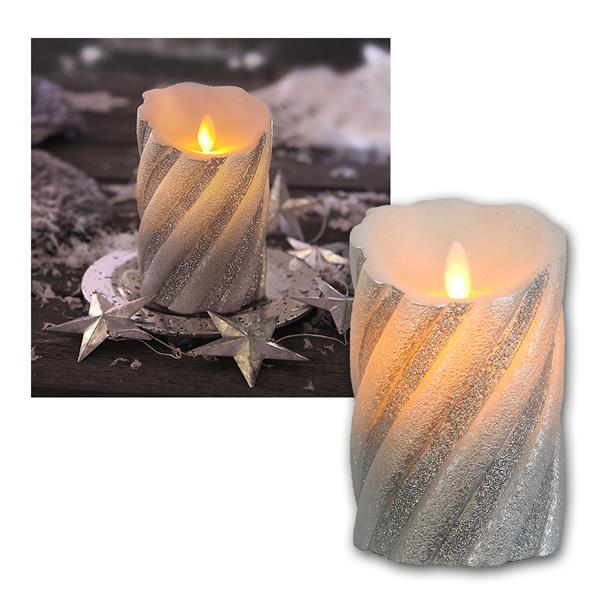 LED-Wachskerze Twinkle Flame silber in Glitzeroptik und Timer