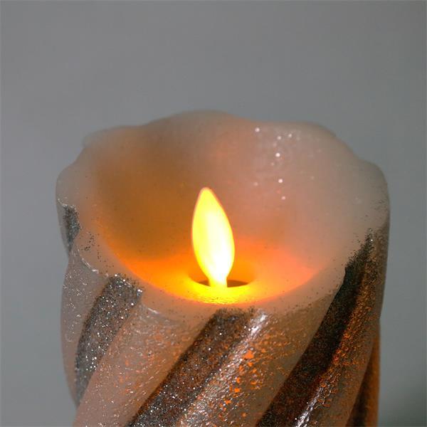 LED-Wachskerze Twinkle Flame silber mit beweglicher Flamme