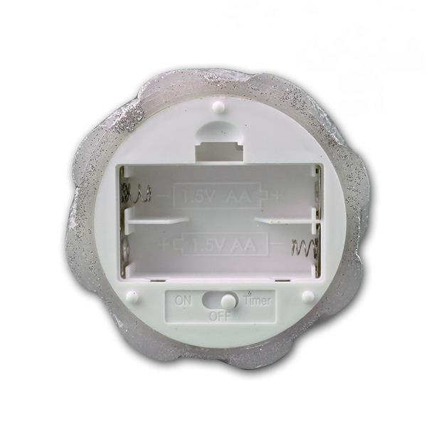 LED-Wachskerze Twinkle Flame silber batteriebetrieben