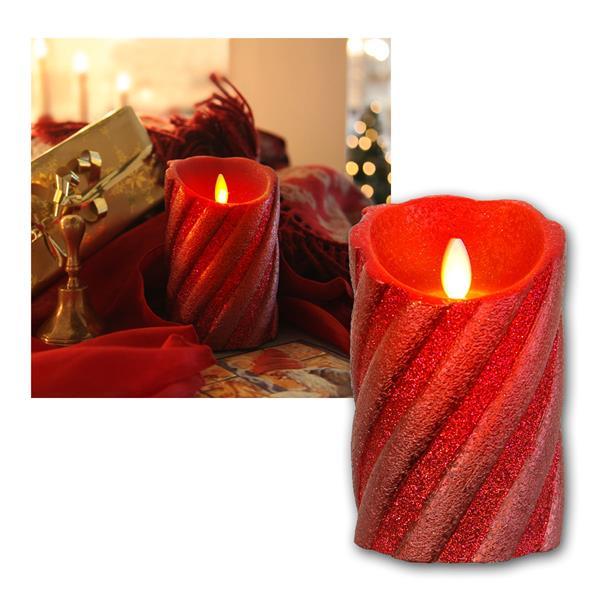 LED-Wachskerze Twinkle Flame rot in Glitzeroptik und Timer