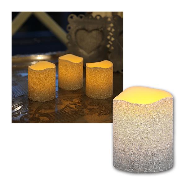 3er LED-Wachskerzen Set silber in Glitzeroptik