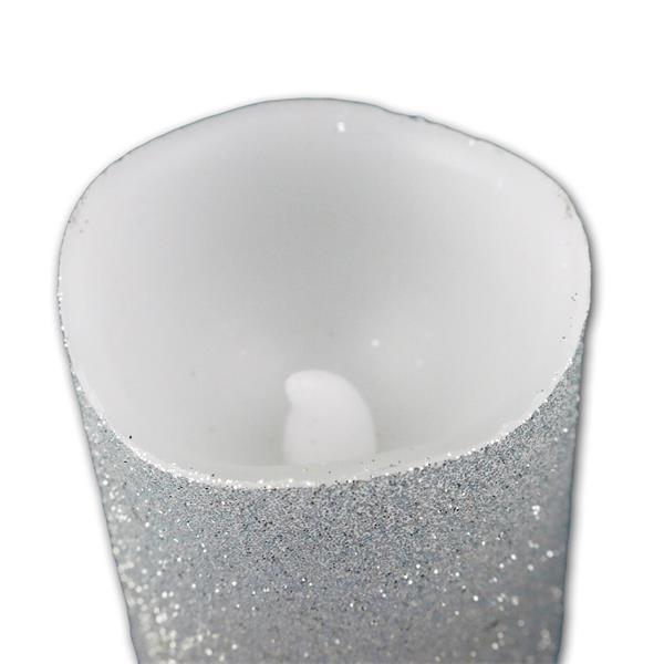 3er LED-Wachskerzen Set silber 6 x 5 cm