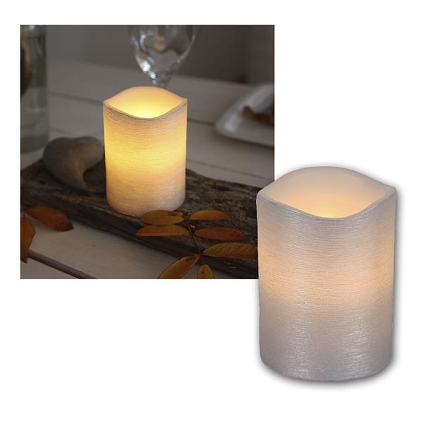 "LED Wachskerze silber 10 x 7,5cm ""Linda"" mit Timer"