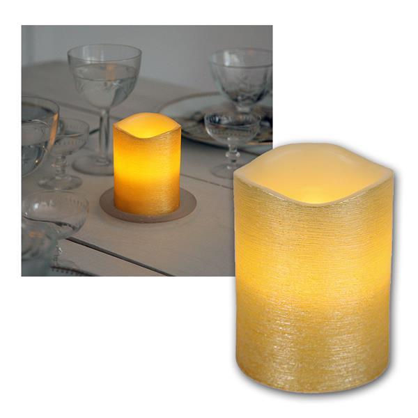 """LED Wachskerze golden 10 x 7,5cm """"Linda"""" mit Timer"""