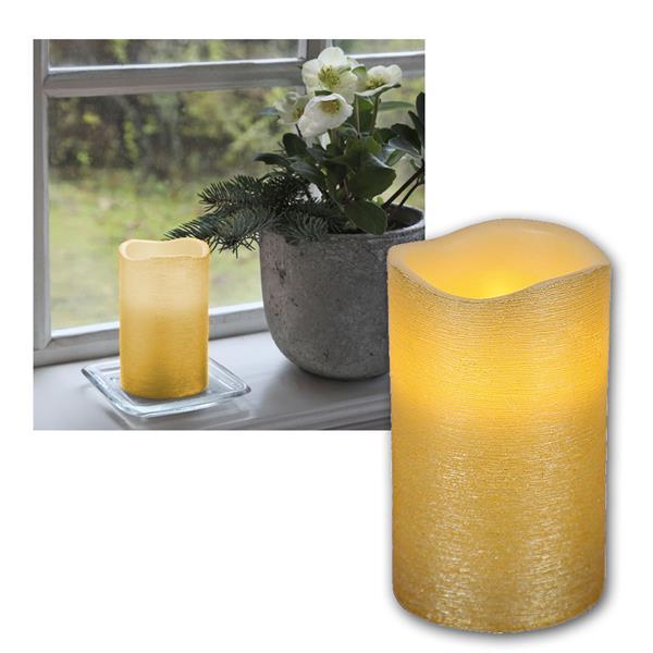 """LED Wachskerze golden 12,5 x 7,5cm """"Linda"""" mit Timer"""