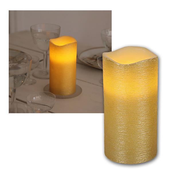 """LED Wachskerze golden 15 x 7,5cm """"Linda"""" mit Timer"""