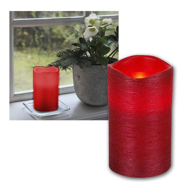 "LED Wachskerze rot 12,5 x 7,5cm ""Linda"" mit Timer"