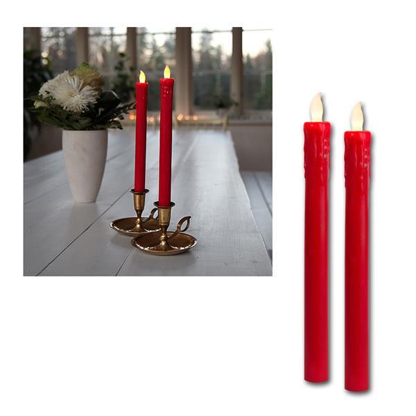 2er Set LED Stabkerzen rot, Push on / off per Flamme