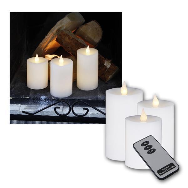 LED-Wachskerzen, weiß, mit Fernbedienung 3er Set