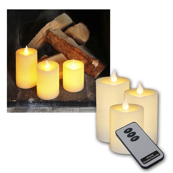 led wachskerzen creme mit fernbedienung 3er set. Black Bedroom Furniture Sets. Home Design Ideas