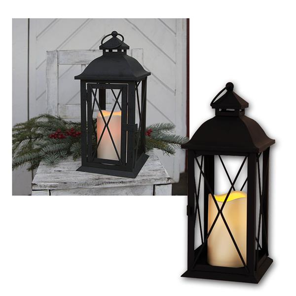 Laterne weiß mit LED Kerze, Timer, 32cm, für Außen