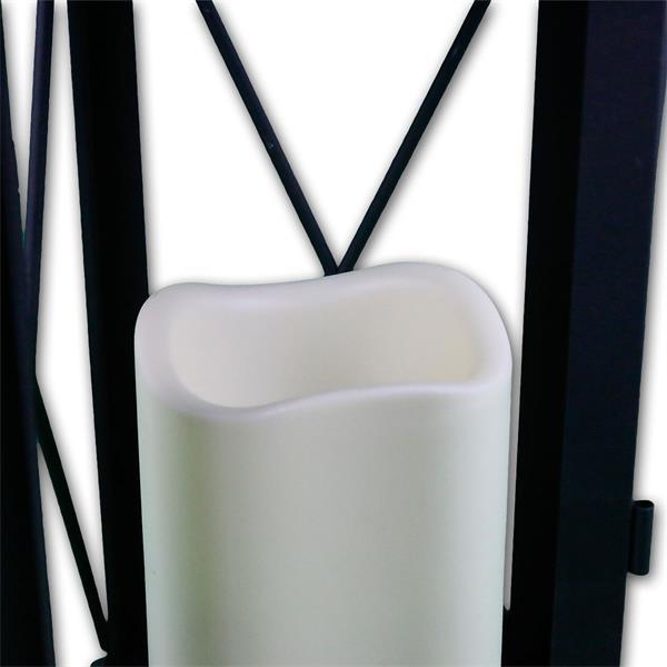 laterne schwarz mit led kerze flackernd timer 32cm. Black Bedroom Furniture Sets. Home Design Ideas