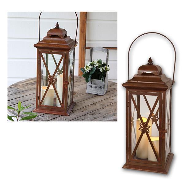 Laterne Kupfer/Rost mit 2 LED Kerzen, Timer, 50cm