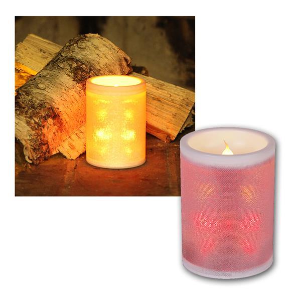 LED-Kerze aus Kunststoff, Glitzerfolie mit Farbwechsel