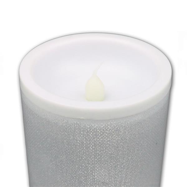 LED Kerze aus Kunststoff mit Glitzerfolie ummantelt