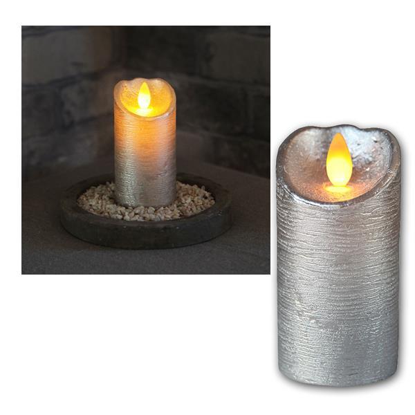 LED Wachskerze Glow Flame silber Timer 10x5,5cm