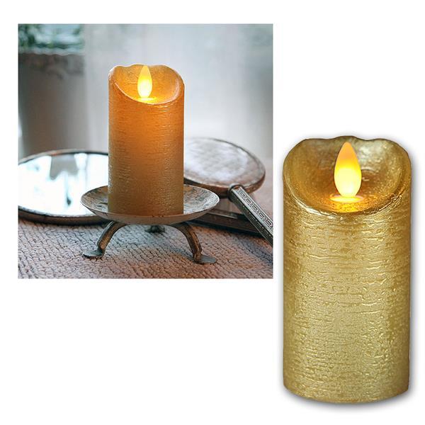 LED Wachskerze Glow Flame gold Timer 10x5,5cm