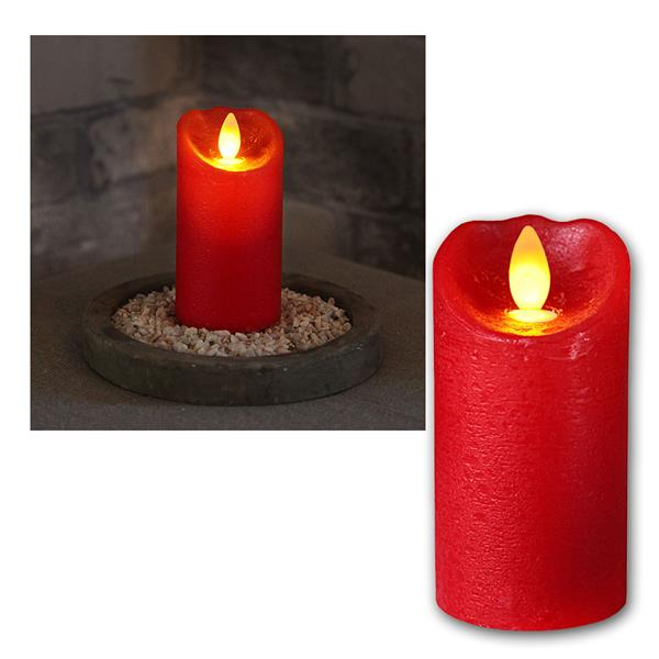 LED Wachskerze Glow Flame rot Timer 10x5,5cm