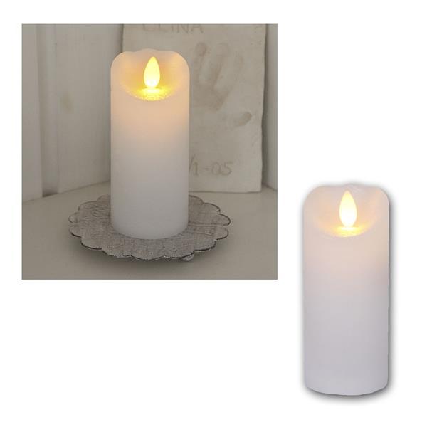LED Wachskerze Glow Flame weiß Timer 12,5x5,5cm